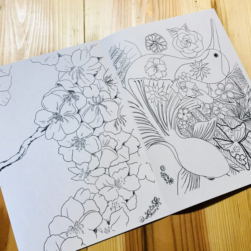 「Robinaぬり絵Coloring booklet」4,5ページ