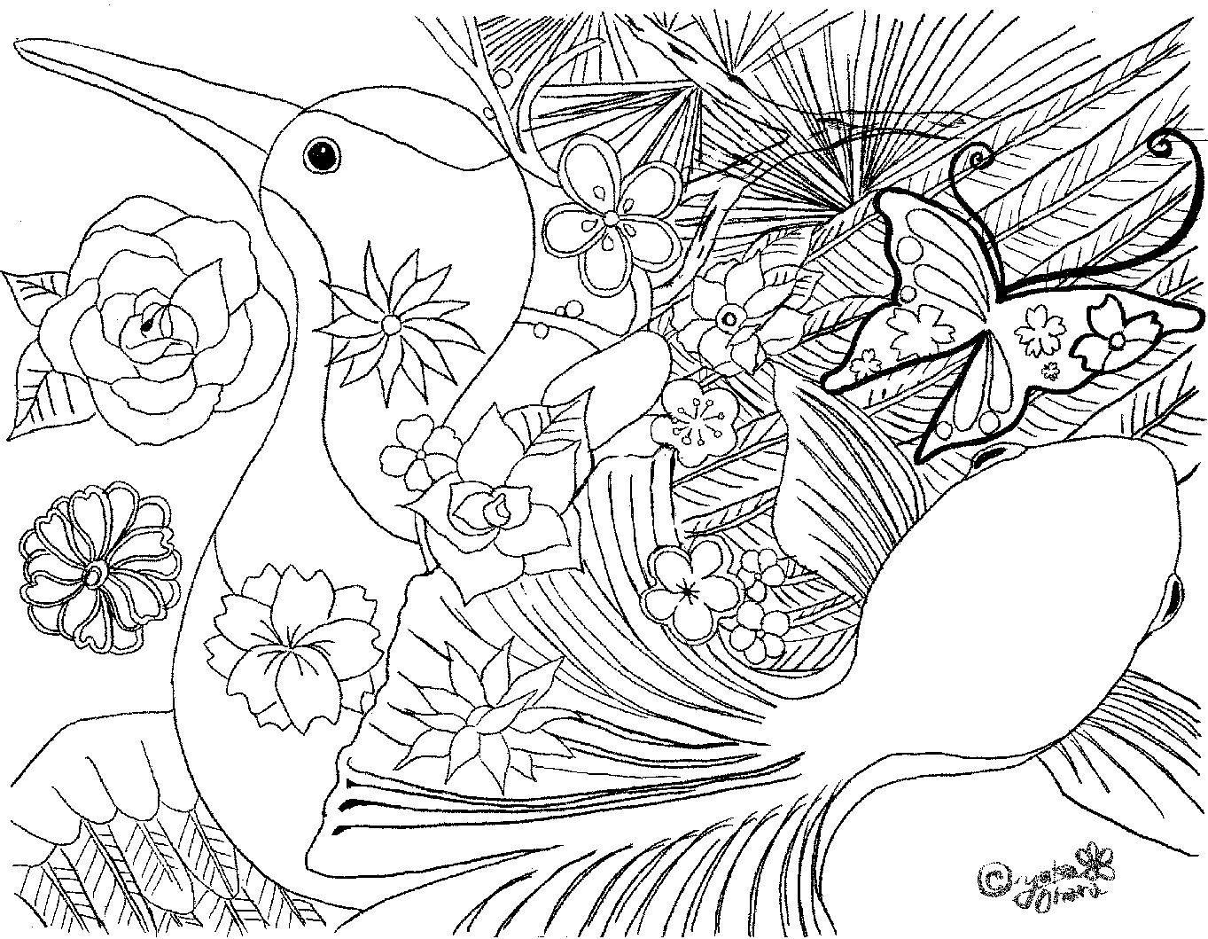 写真:ぬりえ鶴と金魚
